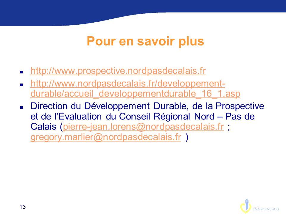 13 Pour en savoir plus n http://www.prospective.nordpasdecalais.fr http://www.prospective.nordpasdecalais.fr n http://www.nordpasdecalais.fr/developpement- durable/accueil_developpementdurable_16_1.asp http://www.nordpasdecalais.fr/developpement- durable/accueil_developpementdurable_16_1.asp n Direction du Développement Durable, de la Prospective et de lEvaluation du Conseil Régional Nord – Pas de Calais (pierre-jean.lorens@nordpasdecalais.fr ; gregory.marlier@nordpasdecalais.fr )pierre-jean.lorens@nordpasdecalais.fr gregory.marlier@nordpasdecalais.fr