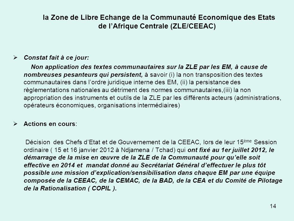 la Zone de Libre Echange de la Communauté Economique des Etats de lAfrique Centrale (ZLE/CEEAC) Constat fait à ce jour: Non application des textes com