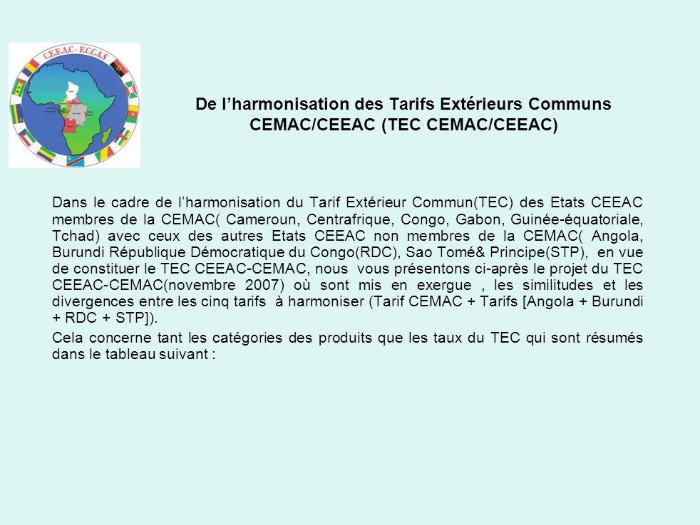 De lharmonisation des Tarifs Extérieurs Communs CEMAC/CEEAC (TEC CEMAC/CEEAC) Dans le cadre de lharmonisation du Tarif Extérieur Commun(TEC) des Etats