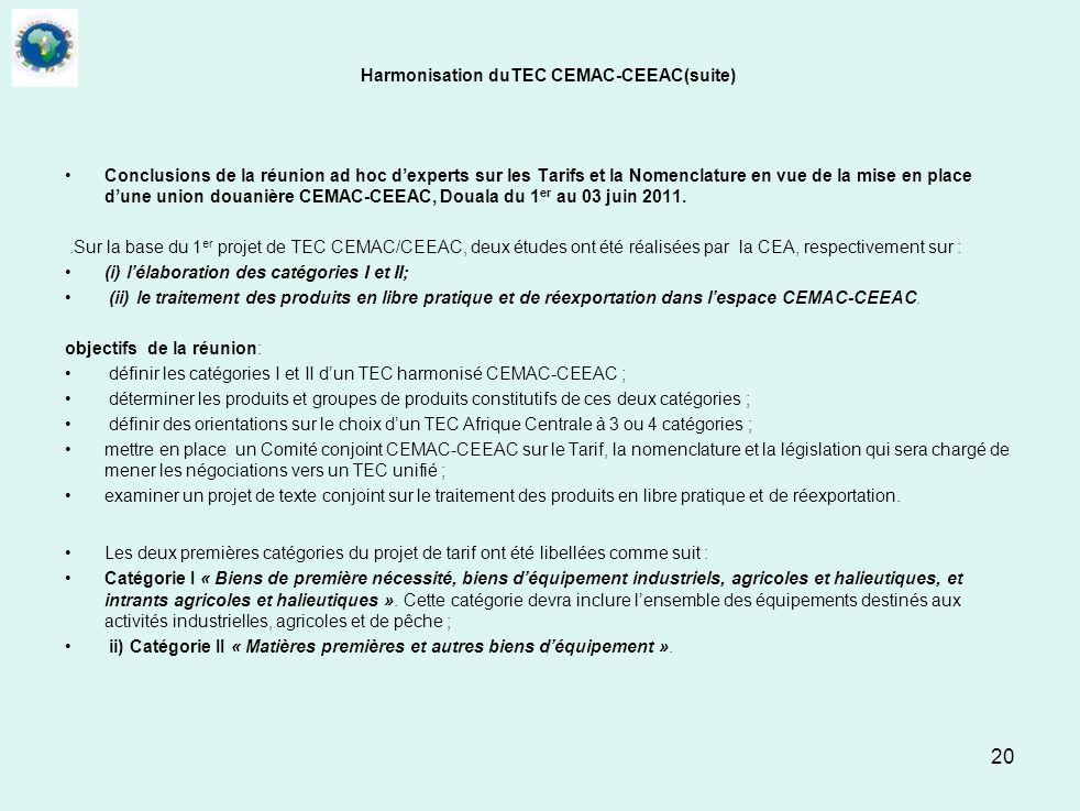 20 Harmonisation duTEC CEMAC-CEEAC(suite) Conclusions de la réunion ad hoc dexperts sur les Tarifs et la Nomenclature en vue de la mise en place dune