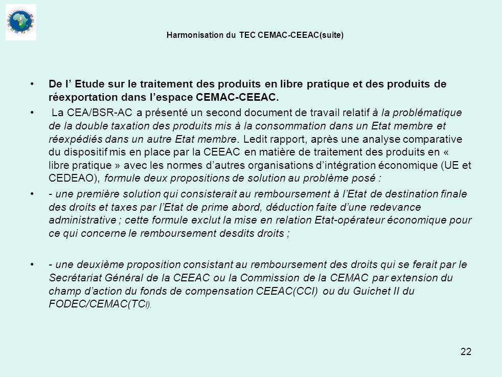 22 Harmonisation du TEC CEMAC-CEEAC(suite) De l Etude sur le traitement des produits en libre pratique et des produits de réexportation dans lespace C