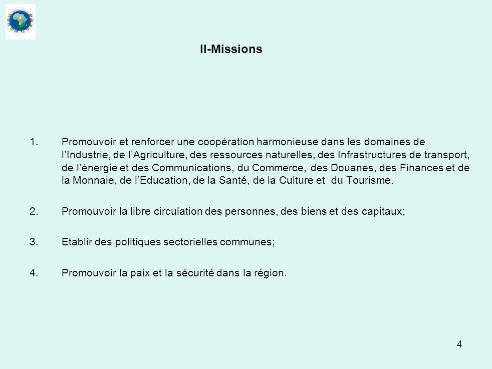 4 II-Missions 1. Promouvoir et renforcer une coopération harmonieuse dans les domaines de lIndustrie, de lAgriculture, des ressources naturelles, des