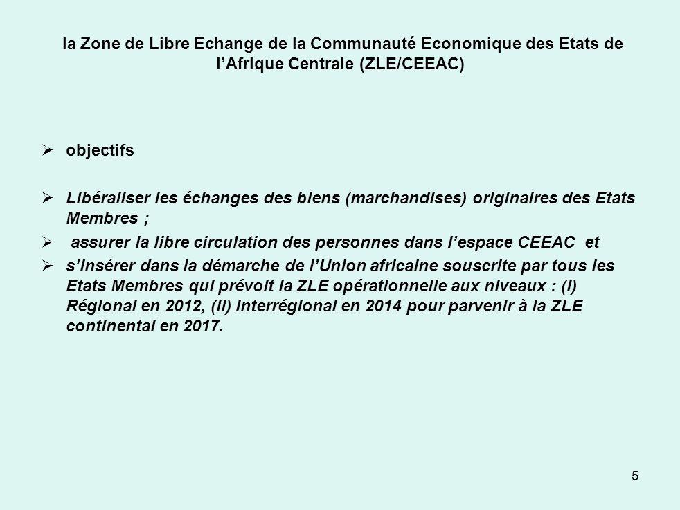 la Zone de Libre Echange de la Communauté Economique des Etats de lAfrique Centrale (ZLE/CEEAC) objectifs Libéraliser les échanges des biens (marchand