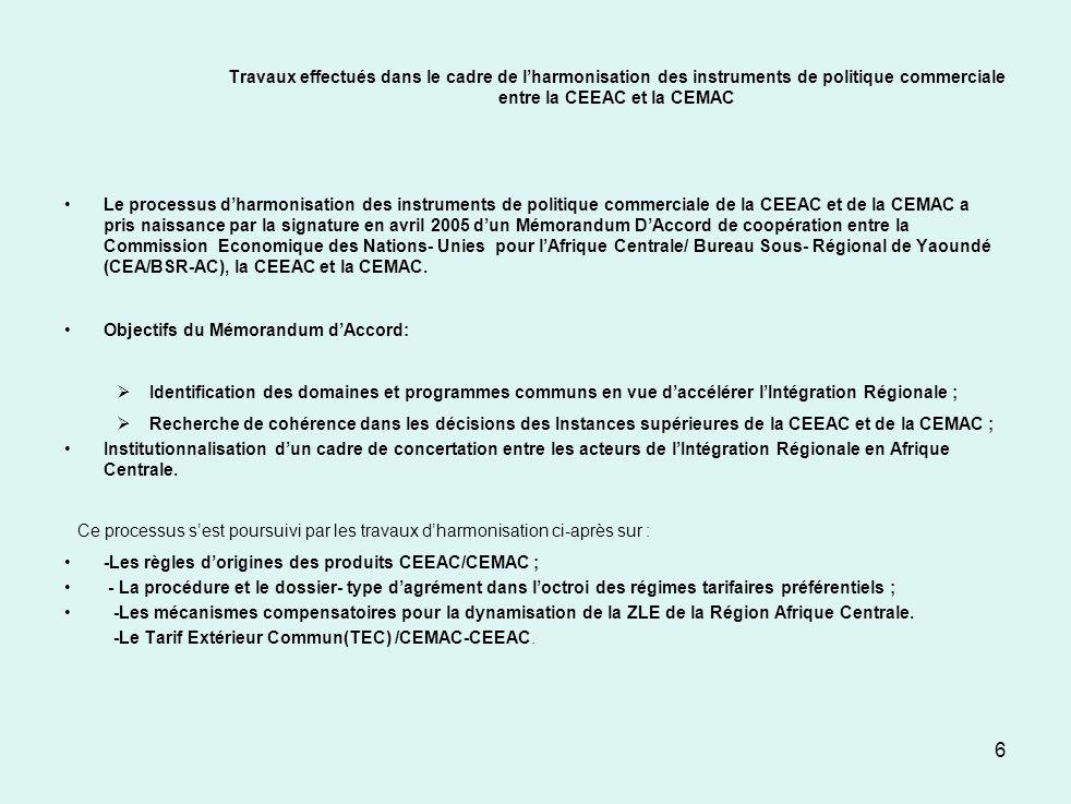 Communauté Économique des États de lAfrique Centrale CEEAC III- Dispositions du Traité relatif à la libéralisation des échanges Chapitre IV : Libéralisation des échanges Article 27: Union douanière « Les Etats membres conviennent d établir progressivement entre eux, dans la limite du délai fixé à l article 6 nouveau du Traité, une Union douanière comportant deux phases »: a) établissement d une zone de libre échange (ZLE)par l élimination entre les Etats ·membres des droits de douane, des contingentements, restrictions ou prohibitions ainsi que les obstacles d ordre administratif au commerce; b) adoption d un tarif douanier extérieur commun.
