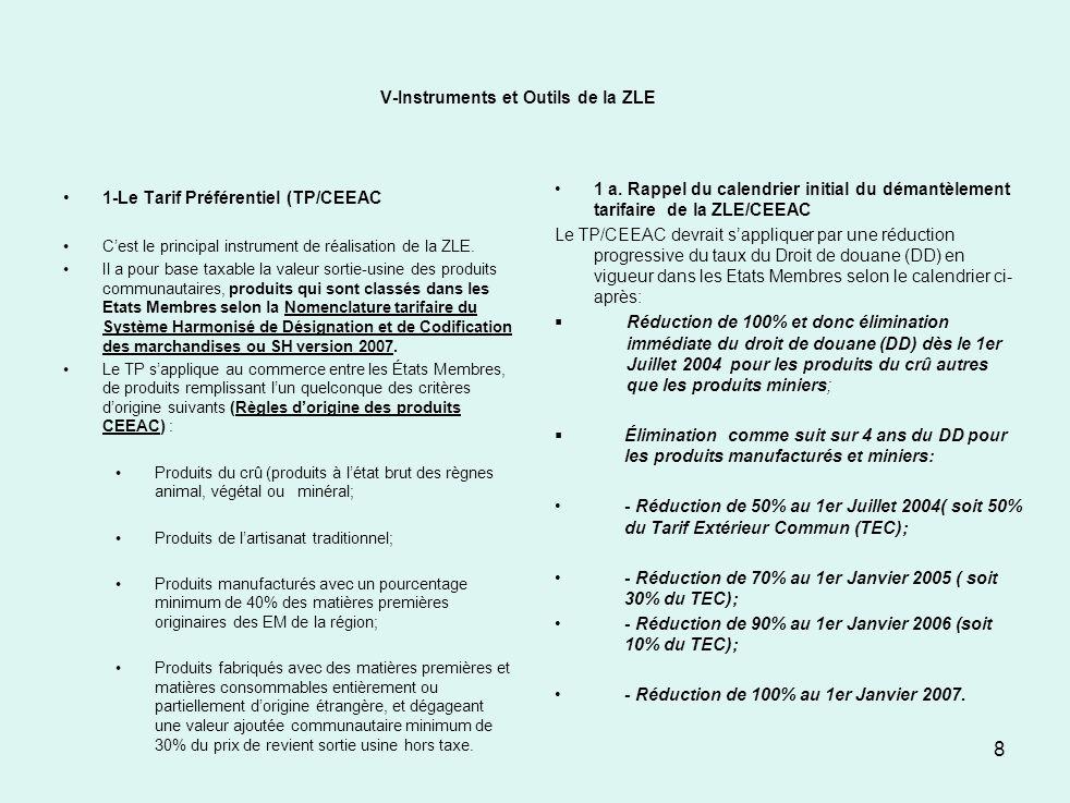 V-Instruments et Outils de la ZLE 1-Le Tarif Préférentiel (TP/CEEAC Cest le principal instrument de réalisation de la ZLE. Il a pour base taxable la v