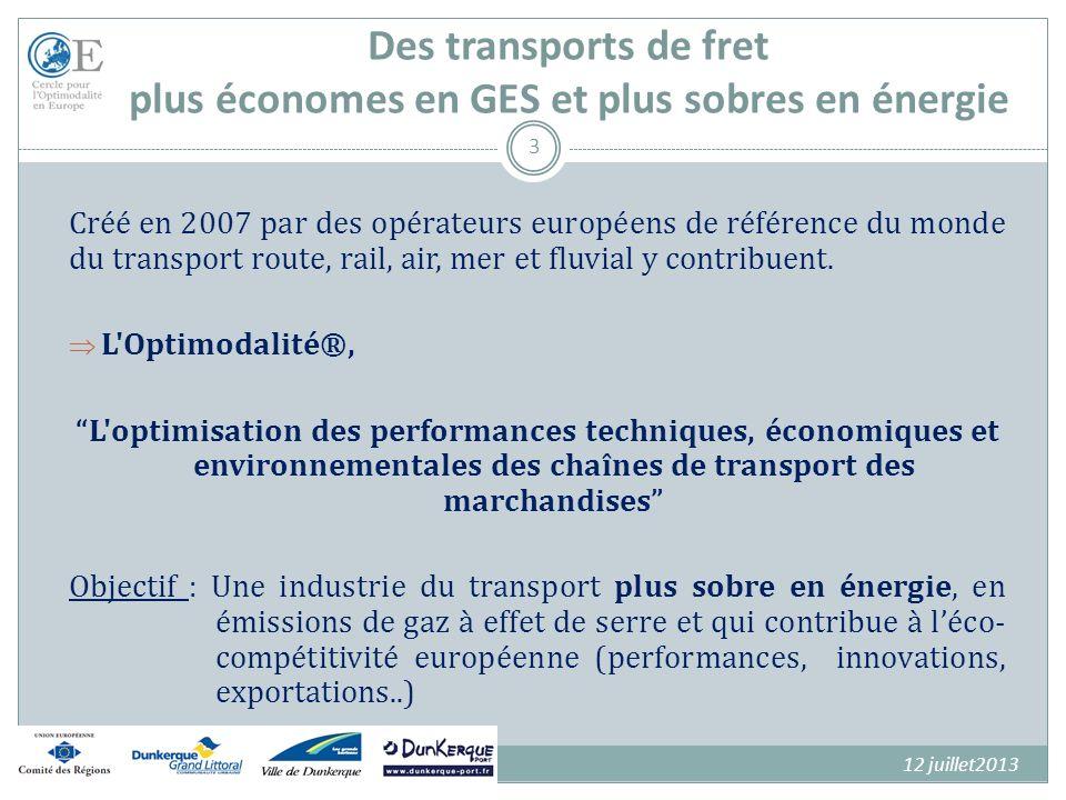 Des transports de fret plus économes en GES et plus sobres en énergie 4 60 Membres représentant tous les modes unis et engagés formellement dans la dynamique optimodale, dont : Les Ports du Havre, de Marseille, de Nantes Saint- Nazaire, de Paris et de Rouen, CMA-CGM, LDA,VNF, RFF, TLF, GEODIS-SNCF, ALSTOM, MODALOHR, CDC, CFT, SIEMMENS, … en ligne avec celle de lUnion Européenne et de son Livre Blanc « Roadmap to a Single European Transport Area – Towards a competitive and resource efficient transport system ».