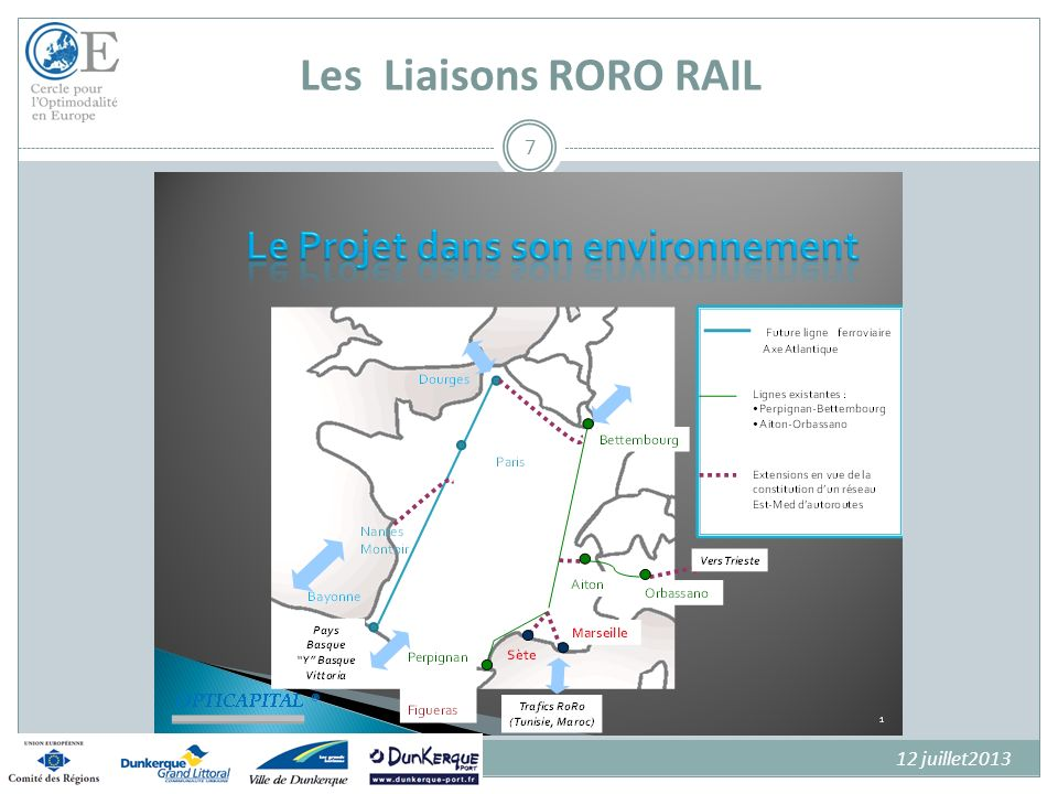 Une idée Originale Mettre en synergie « autoroutes de la mer » et « autoroutes ferroviaires » pour constituer un élément de performance supplémentaire pour améliorer lattractivité et la compétitivité des Ports et leur donner de nouveaux outils pour le développement des trafics rouliers Aller au-delà dune simple Autoroute de la Mer prolongement original des ADM par des services dAutoroutes Ferroviaires au départ des ports contribuer à favoriser le développement et la montée en puissance des services Ro Ro 8
