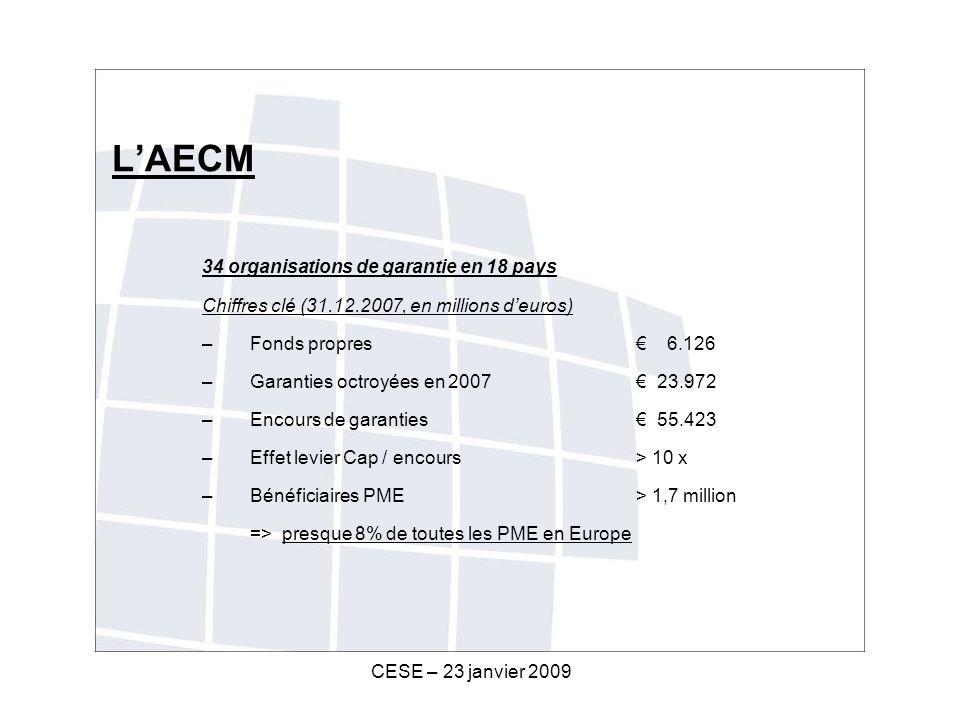 CESE – 23 janvier 2009 LAECM 34 organisations de garantie en 18 pays Chiffres clé (31.12.2007, en millions deuros) – Fonds propres 6.126 – Garanties octroyées en 2007 23.972 – Encours de garanties 55.423 –Effet levier Cap / encours > 10 x – Bénéficiaires PME > 1,7 million => presque 8% de toutes les PME en Europe