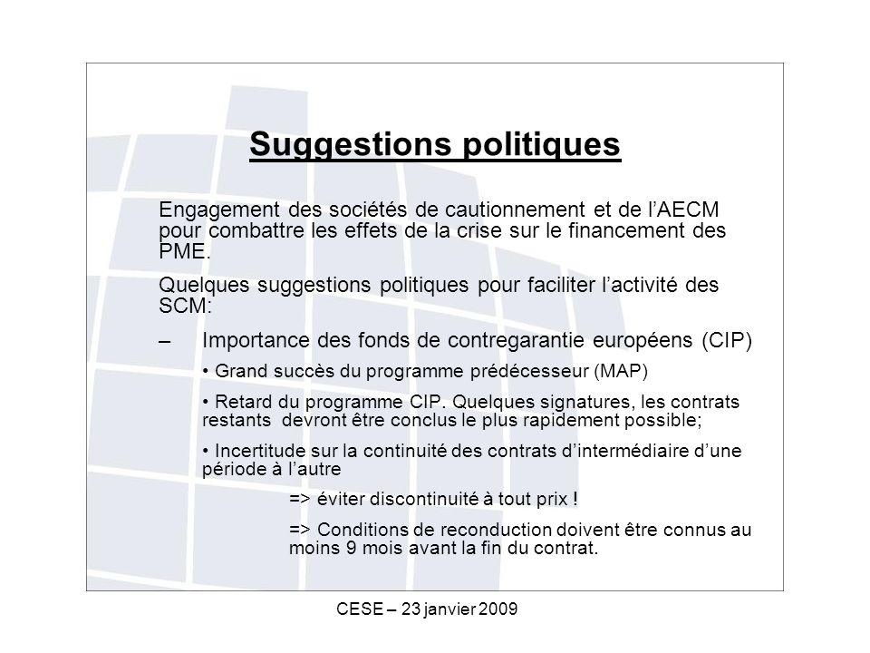CESE – 23 janvier 2009 Suggestions politiques Engagement des sociétés de cautionnement et de lAECM pour combattre les effets de la crise sur le financement des PME.