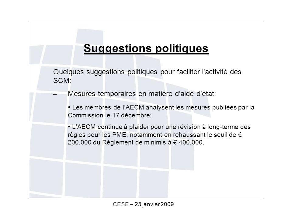 CESE – 23 janvier 2009 Suggestions politiques Quelques suggestions politiques pour faciliter lactivité des SCM: –Mesures temporaires en matière daide