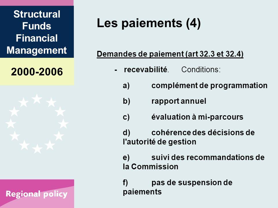 2000-2006 Structural Funds Financial Management Les paiements (4) Demandes de paiement (art 32.3 et 32.4) -recevabilité.