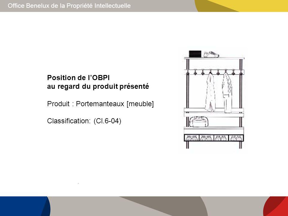 Office Benelux de la Propriété Intellectuelle Position de lOBPI au regard du produit présenté Produit : Portemanteaux [meuble] Classification: (Cl.6-0