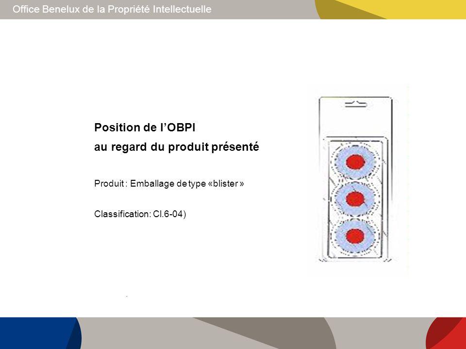 Office Benelux de la Propriété Intellectuelle Position de lOBPI au regard du produit présenté Produit : Emballage de type «blister » Classification: C
