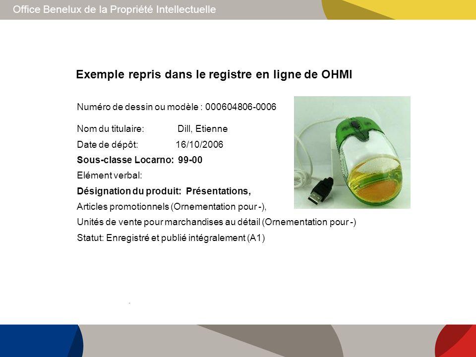 Office Benelux de la Propriété Intellectuelle Exemple repris dans le registre en ligne de OHMI Nom du titulaire: Dill, Etienne Date de dépôt: 16/10/20