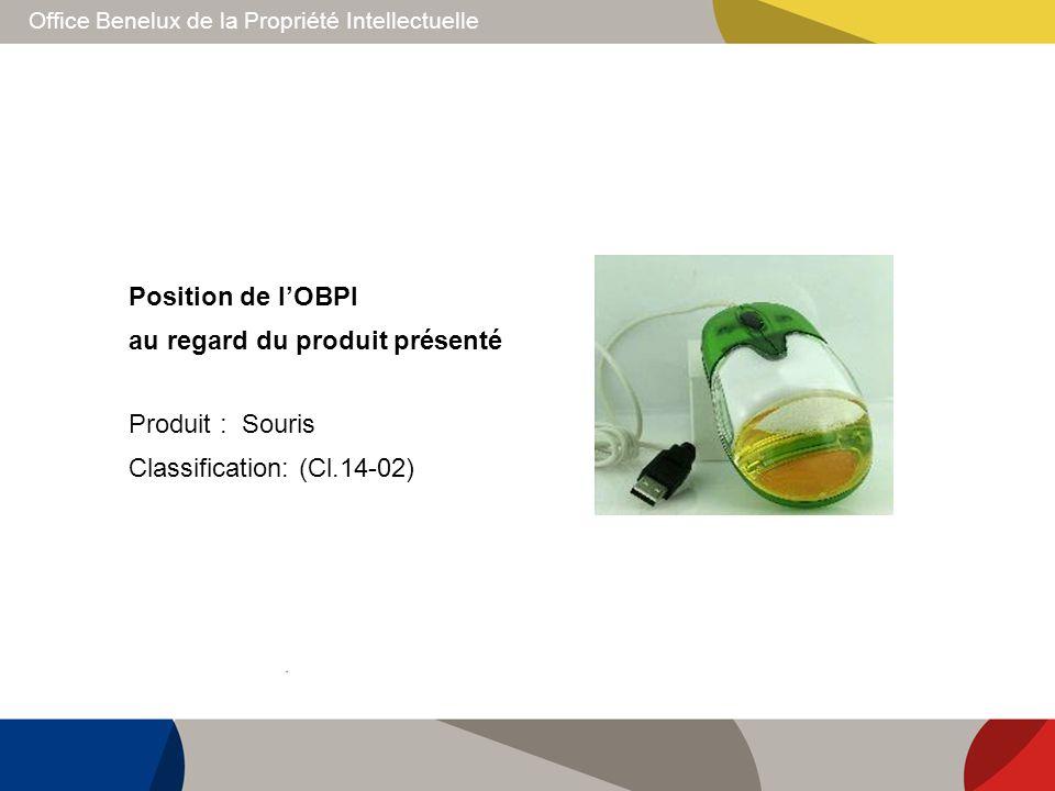 Office Benelux de la Propriété Intellectuelle Position de lOBPI au regard du produit présenté Produit : Souris Classification: (Cl.14-02)