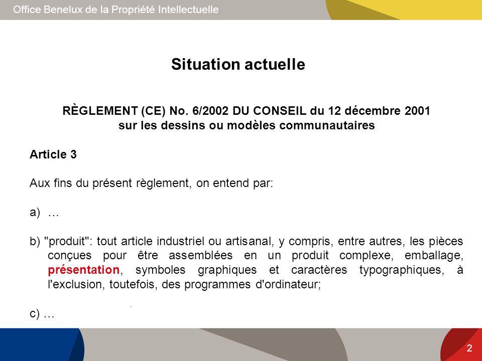Office Benelux de la Propriété Intellectuelle 2 RÈGLEMENT (CE) No. 6/2002 DU CONSEIL du 12 décembre 2001 sur les dessins ou modèles communautaires Art