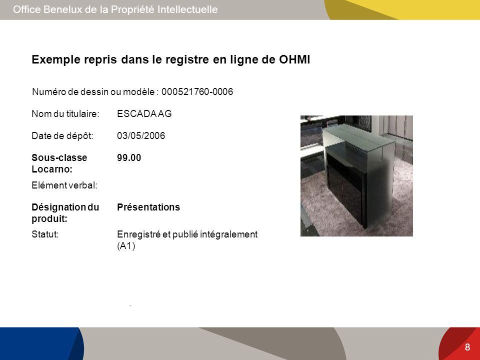 Office Benelux de la Propriété Intellectuelle Exemple repris dans le registre en ligne de OHMI 8 Nom du titulaire:ESCADA AG Date de dépôt:03/05/2006 S