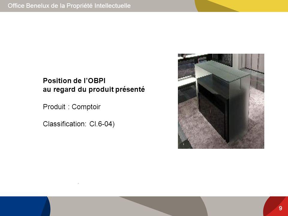 Office Benelux de la Propriété Intellectuelle 9 Position de lOBPI au regard du produit présenté Produit : Comptoir Classification: Cl.6-04)