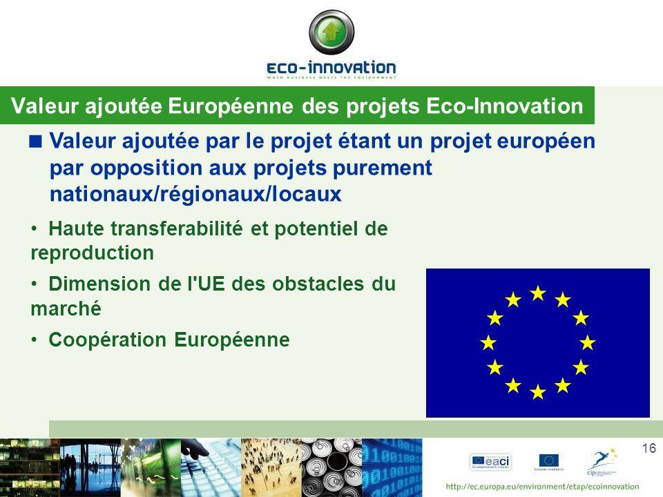 16 Valeur ajoutée Européenne des projets Eco-Innovation Valeur ajoutée par le projet étant un projet européen par opposition aux projets purement nationaux/régionaux/locaux Haute transferabilité et potentiel de reproduction Dimension de l UE des obstacles du marché Coopération Européenne