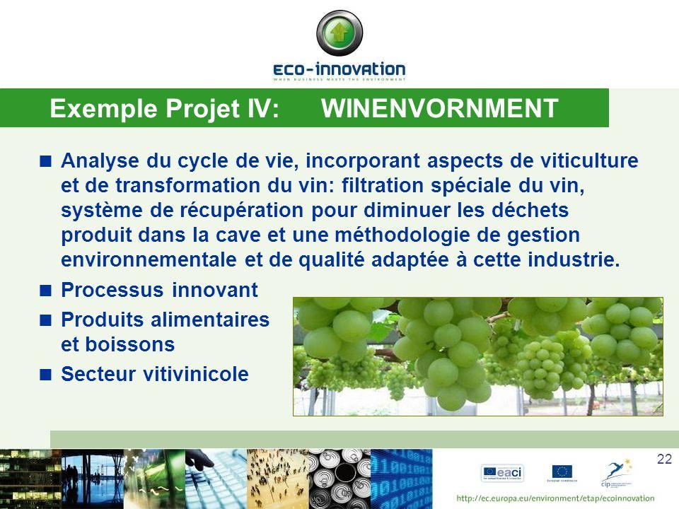 22 Exemple Projet IV:WINENVORNMENT Analyse du cycle de vie, incorporant aspects de viticulture et de transformation du vin: filtration spéciale du vin, système de récupération pour diminuer les déchets produit dans la cave et une méthodologie de gestion environnementale et de qualité adaptée à cette industrie.