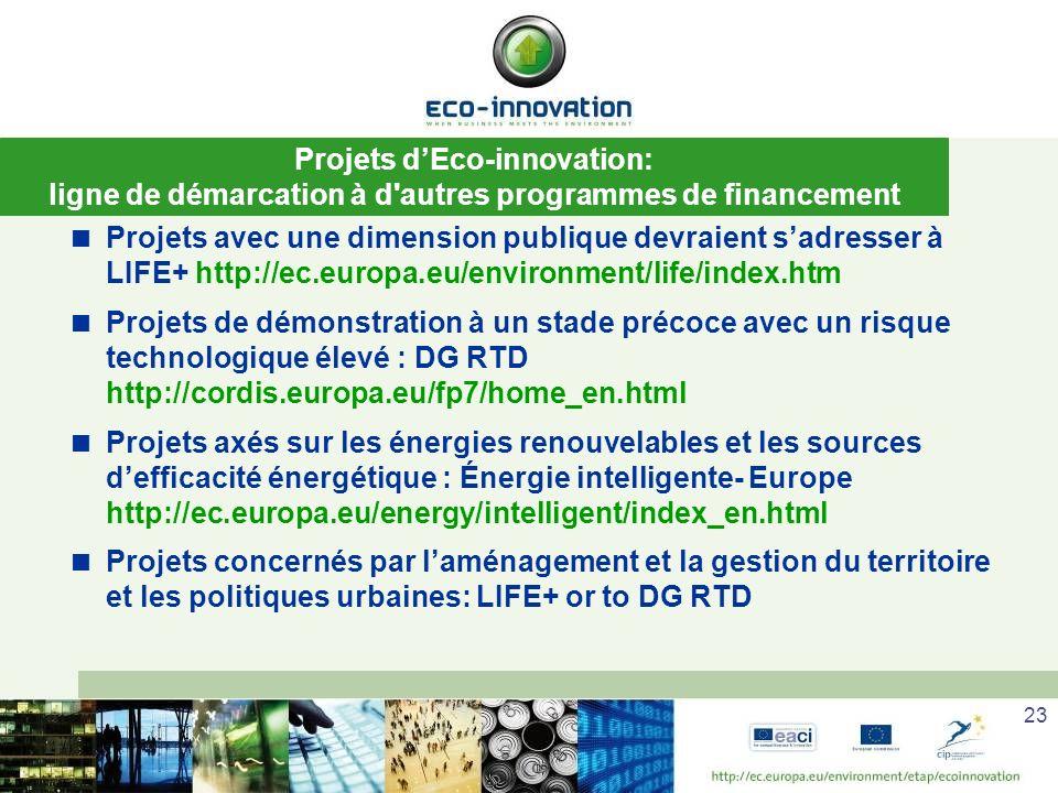 23 Projets dEco-innovation: ligne de démarcation à d autres programmes de financement Projets avec une dimension publique devraient sadresser à LIFE+ http://ec.europa.eu/environment/life/index.htm Projets de démonstration à un stade précoce avec un risque technologique élevé : DG RTD http://cordis.europa.eu/fp7/home_en.html Projets axés sur les énergies renouvelables et les sources defficacité énergétique : Énergie intelligente- Europe http://ec.europa.eu/energy/intelligent/index_en.html Projets concernés par laménagement et la gestion du territoire et les politiques urbaines: LIFE+ or to DG RTD