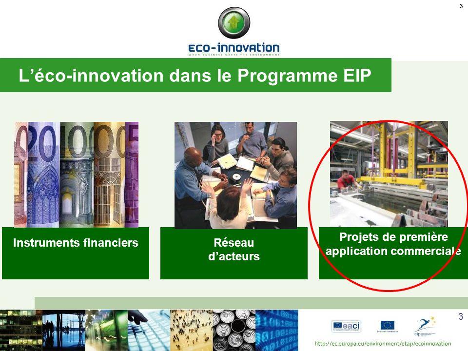 3 Léco-innovation dans le Programme EIP 3 Instruments financiersRéseau dacteurs Projets de première application commerciale