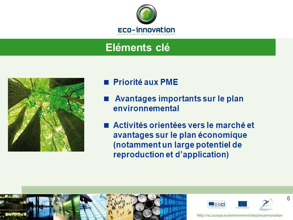 6 Eléments clé Priorité aux PME Avantages importants sur le plan environnemental Activités orientées vers le marché et avantages sur le plan économique (notamment un large potentiel de reproduction et dapplication)