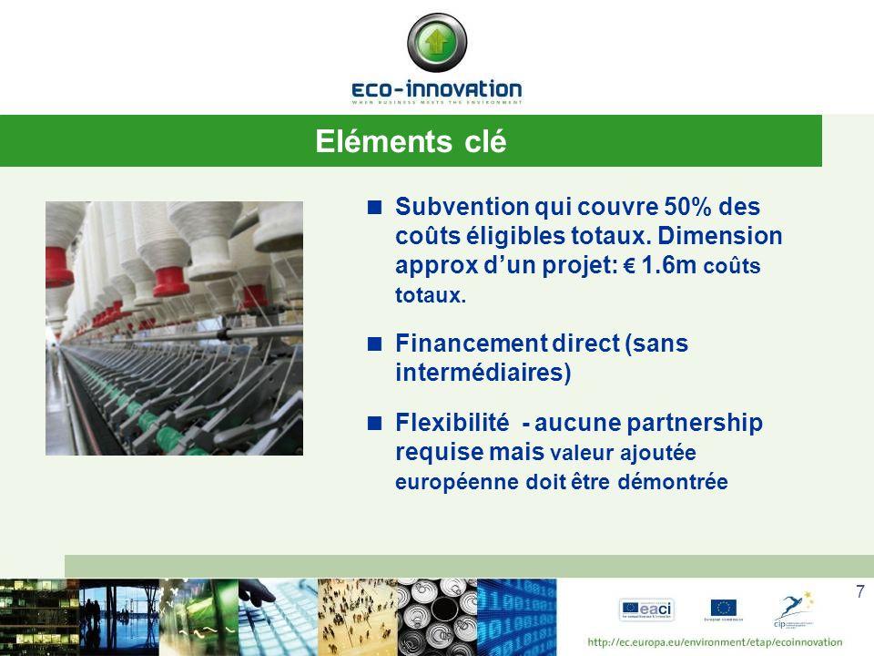 7 Eléments clé Subvention qui couvre 50% des coûts éligibles totaux.