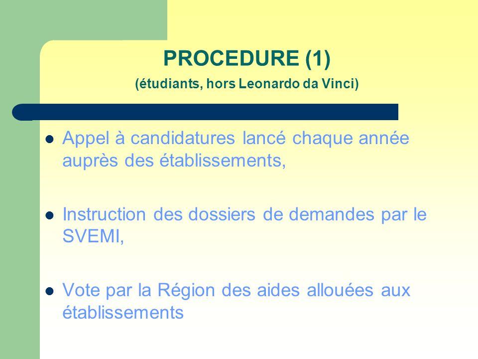 PROCEDURE (1) (étudiants, hors Leonardo da Vinci) Appel à candidatures lancé chaque année auprès des établissements, Instruction des dossiers de demandes par le SVEMI, Vote par la Région des aides allouées aux établissements