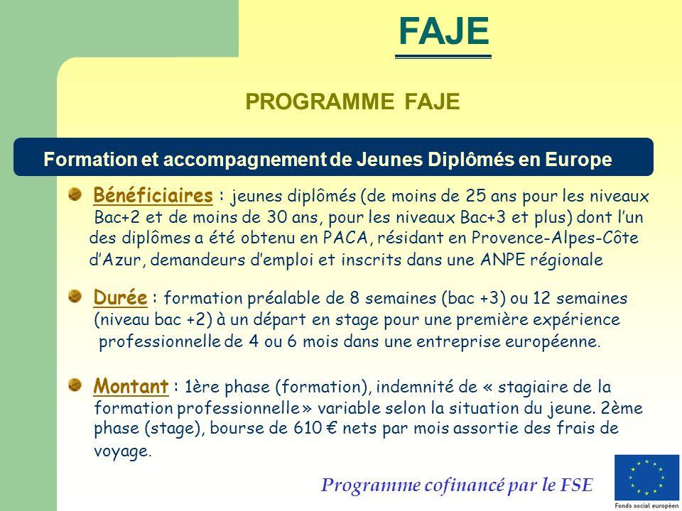 PROGRAMME FAJE Bénéficiaires : jeunes diplômés (de moins de 25 ans pour les niveaux Bac+2 et de moins de 30 ans, pour les niveaux Bac+3 et plus) dont lun des diplômes a été obtenu en PACA, résidant en Provence-Alpes-Côte dAzur, demandeurs demploi et inscrits dans une ANPE régionale Durée : formation préalable de 8 semaines (bac +3) ou 12 semaines (niveau bac +2) à un départ en stage pour une première expérience professionnelle de 4 ou 6 mois dans une entreprise européenne.