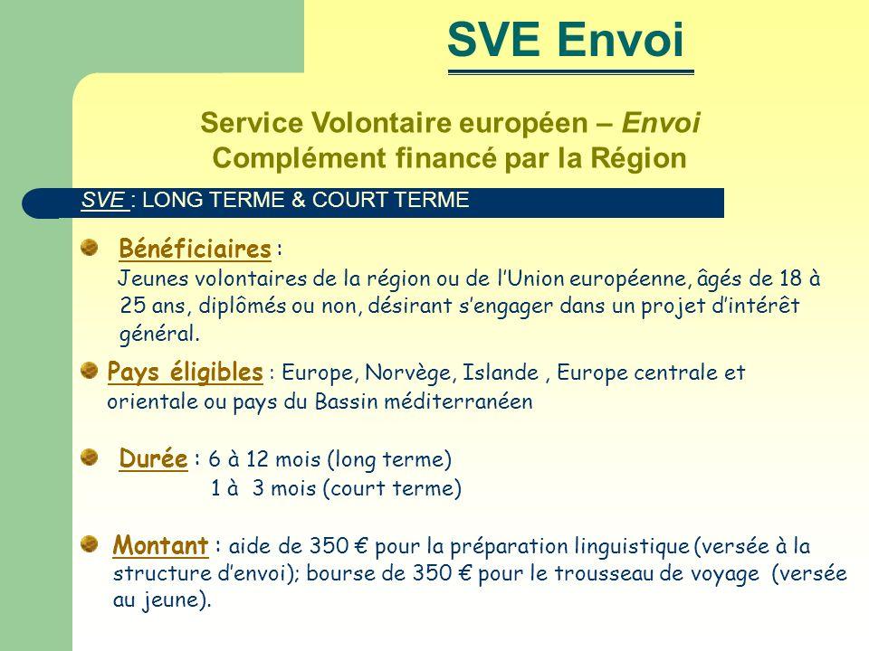 Service Volontaire européen – Envoi Complément financé par la Région Bénéficiaires : Jeunes volontaires de la région ou de lUnion européenne, âgés de 18 à 25 ans, diplômés ou non, désirant sengager dans un projet dintérêt général.