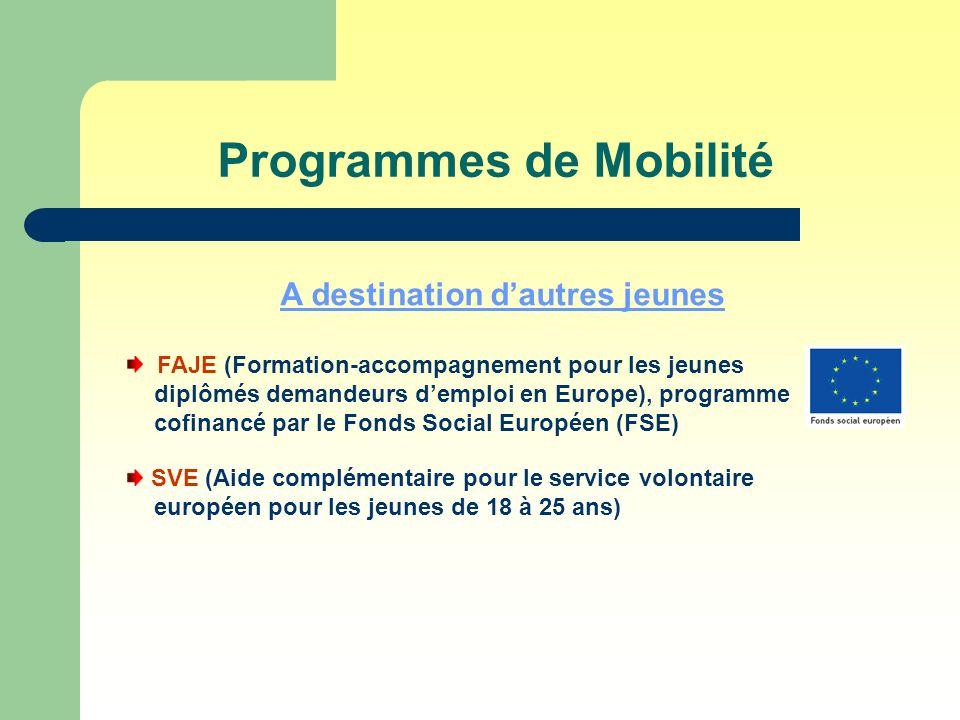 Programmes de Mobilité A destination dautres jeunes FAJE (Formation-accompagnement pour les jeunes diplômés demandeurs demploi en Europe), programme cofinancé par le Fonds Social Européen (FSE) SVE (Aide complémentaire pour le service volontaire européen pour les jeunes de 18 à 25 ans)