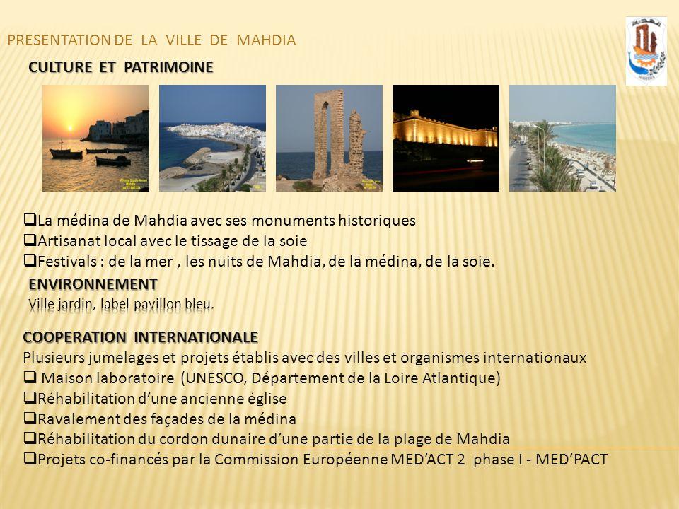 PRESENTATION DE LA VILLE DE MAHDIA CULTURE ET PATRIMOINE La médina de Mahdia avec ses monuments historiques Artisanat local avec le tissage de la soie