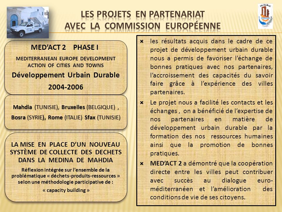 MEDACT 2 PHASE I MEDITERRANEAN EUROPE DEVELOPMENT ACTION OF CITIES AND TOWNS Développement Urbain Durable 2004-2006 Mahdia (TUNISIE), Bruxelles (BELGI