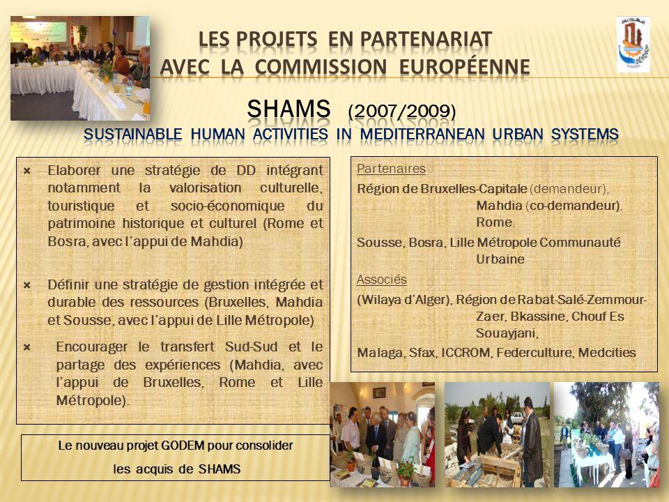 Partenaires Région de Bruxelles-Capitale (demandeur), Mahdia (co-demandeur), Rome, Sousse, Bosra, Lille Métropole Communauté Urbaine Associés (Wilaya