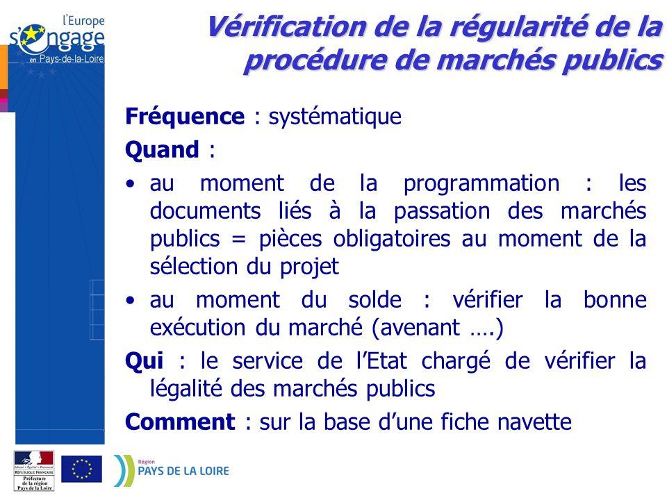 Vérification de la régularité de la procédure de marchés publics Fréquence : systématique Quand : au moment de la programmation : les documents liés à