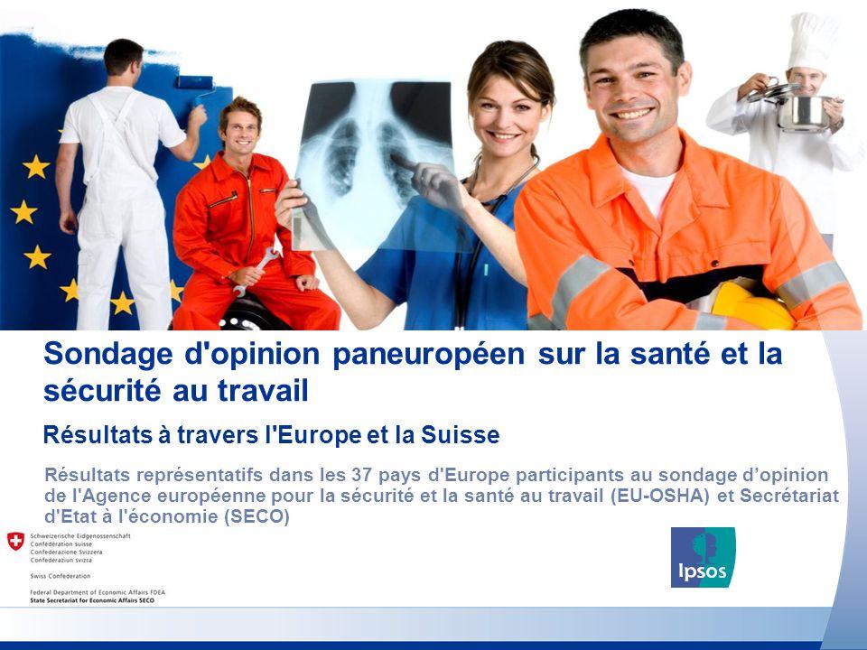 Sondage d opinion paneuropéen sur la santé et la sécurité au travail Résultats représentatifs dans les 37 pays d Europe participants au sondage dopinion de l Agence européenne pour la sécurité et la santé au travail (EU-OSHA) et Secrétariat d Etat à l économie (SECO) Résultats à travers l Europe et la Suisse