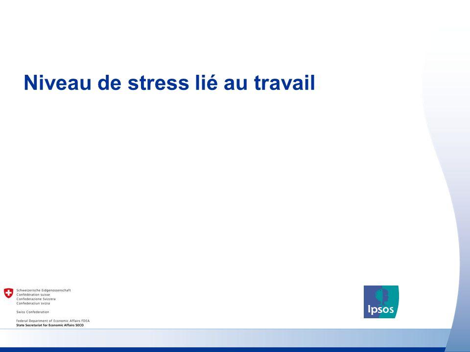 7 http://www.seco-cooperation.admin.ch Univers : Population âgée de 18 ans ou plus Niveau de stress lié au travail (France) Pensez-vous que le nombre de personnes souffrant de stress lié au travail en Suisse augmentera, diminuera ou restera à peu près le même au cours des cinq prochaines années .