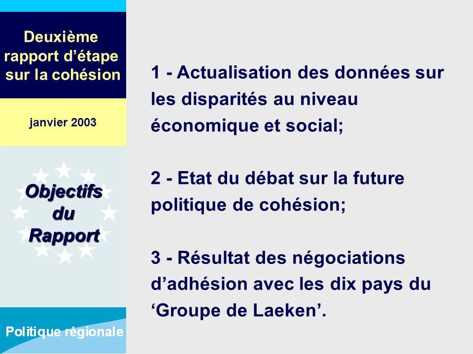 Deuxième rapport détape sur la cohésion 1 - Actualisation des données sur les disparités au niveau économique et social; 2 - Etat du débat sur la futu