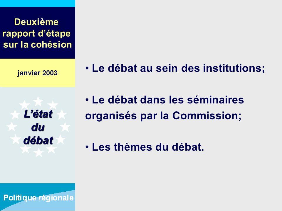 Deuxième rapport détape sur la cohésion Le débat au sein des institutions; Le débat dans les séminaires organisés par la Commission; Les thèmes du déb
