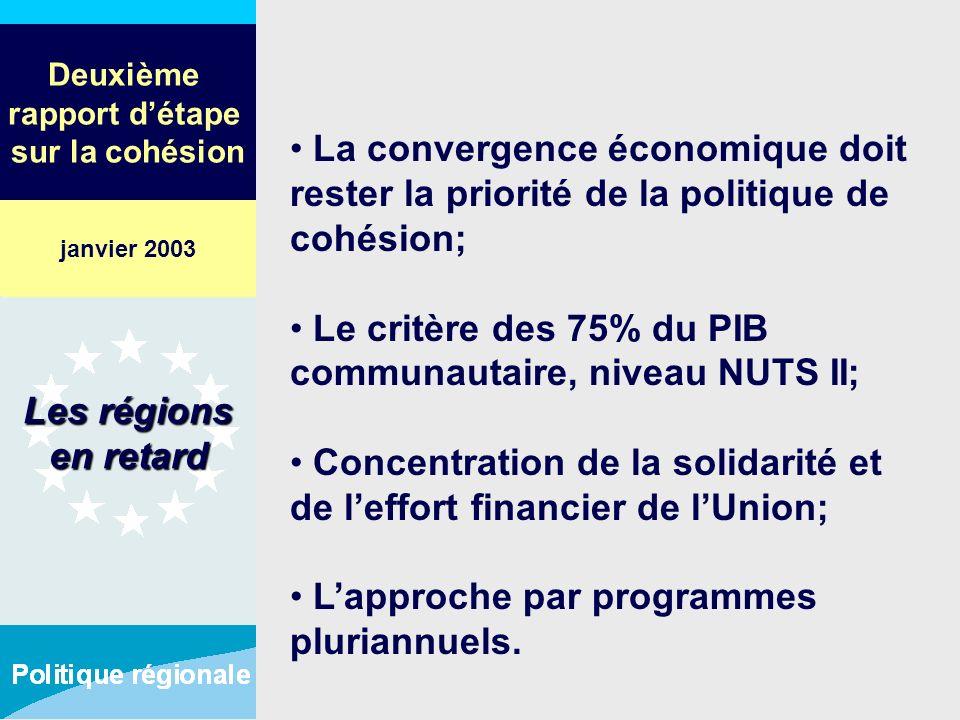 Deuxième rapport détape sur la cohésion La convergence économique doit rester la priorité de la politique de cohésion; Le critère des 75% du PIB commu