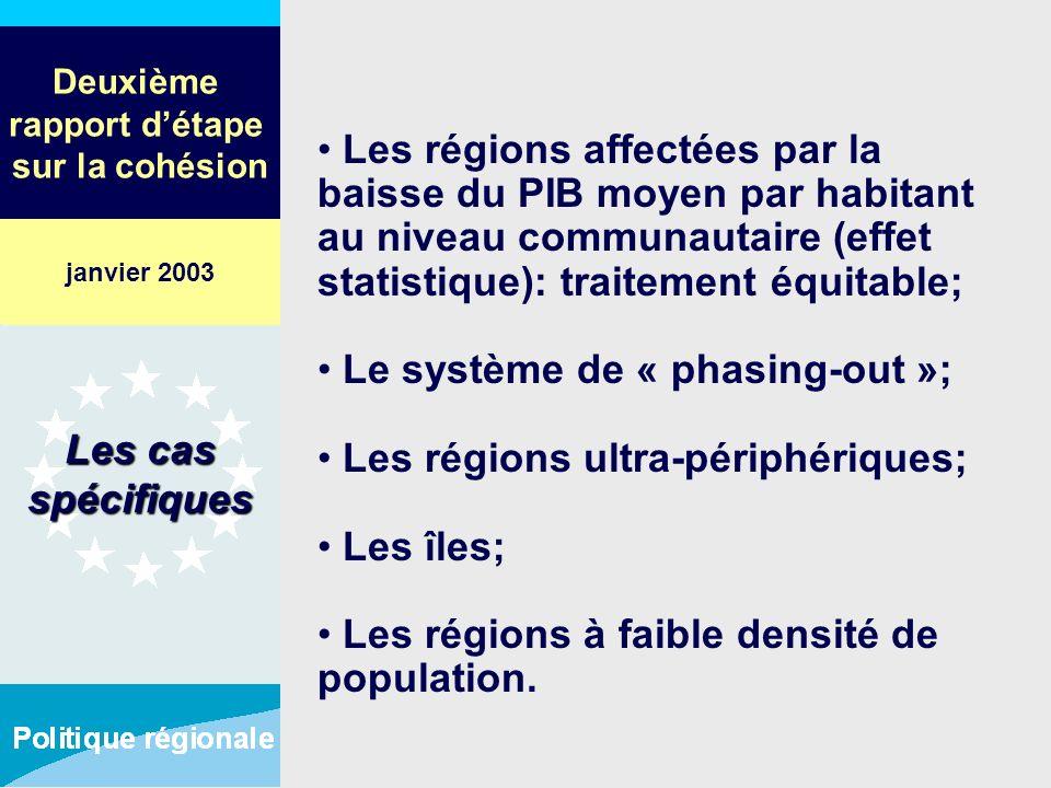 Deuxième rapport détape sur la cohésion Les régions affectées par la baisse du PIB moyen par habitant au niveau communautaire (effet statistique): tra