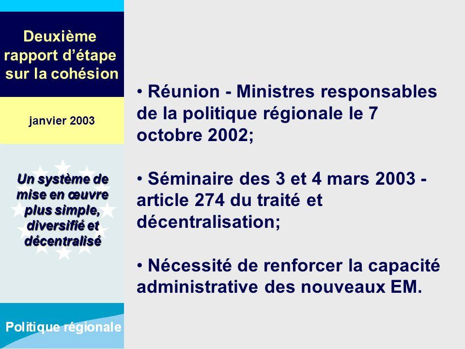 Deuxième rapport détape sur la cohésion Réunion - Ministres responsables de la politique régionale le 7 octobre 2002; Séminaire des 3 et 4 mars 2003 -