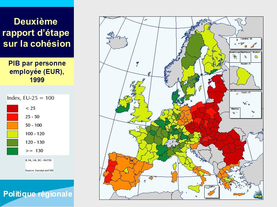 Deuxième rapport détape sur la cohésion PIB par personne employée (EUR), 1999