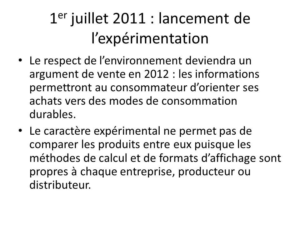 1 er juillet 2011 : lancement de lexpérimentation Le respect de lenvironnement deviendra un argument de vente en 2012 : les informations permettront au consommateur dorienter ses achats vers des modes de consommation durables.