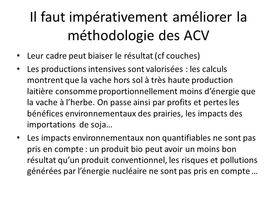 Il faut impérativement améliorer la méthodologie des ACV Leur cadre peut biaiser le résultat (cf couches) Les productions intensives sont valorisées : les calculs montrent que la vache hors sol à très haute production laitière consomme proportionnellement moins dénergie que la vache à lherbe.
