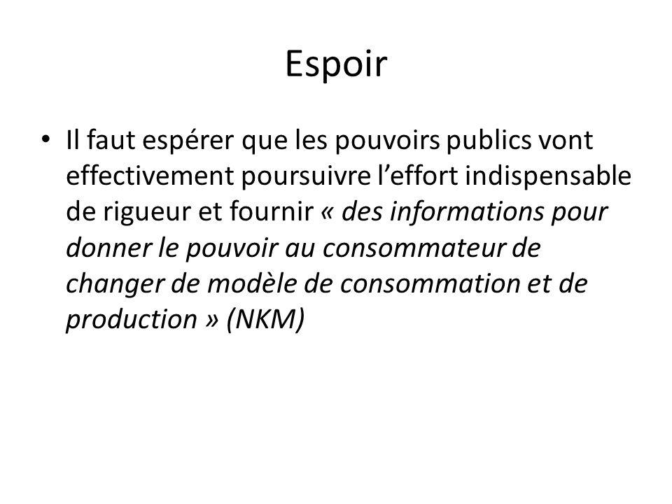 Espoir Il faut espérer que les pouvoirs publics vont effectivement poursuivre leffort indispensable de rigueur et fournir « des informations pour donner le pouvoir au consommateur de changer de modèle de consommation et de production » (NKM)