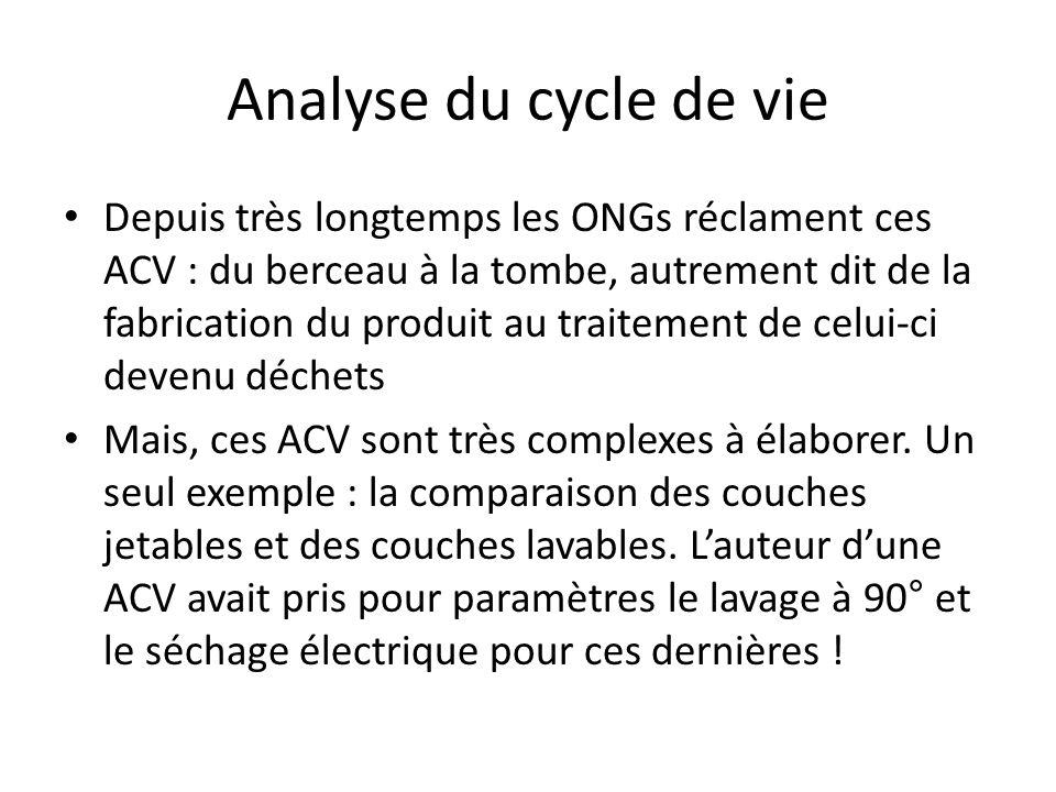 Analyse du cycle de vie Depuis très longtemps les ONGs réclament ces ACV : du berceau à la tombe, autrement dit de la fabrication du produit au traitement de celui-ci devenu déchets Mais, ces ACV sont très complexes à élaborer.