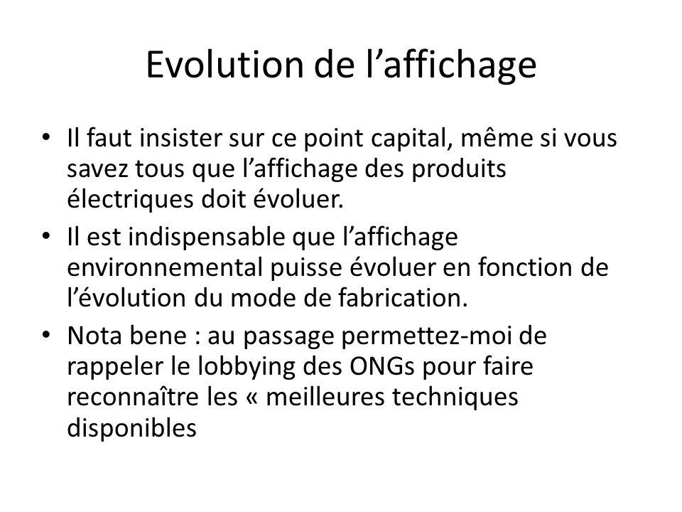 Evolution de laffichage Il faut insister sur ce point capital, même si vous savez tous que laffichage des produits électriques doit évoluer.