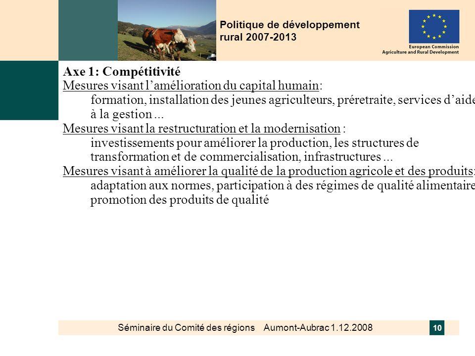 Séminaire du Comité des régions Aumont-Aubrac 1.12.2008 10 Politique de développement rural 2007-2013 Axe 1: Compétitivité Mesures visant lamélioratio